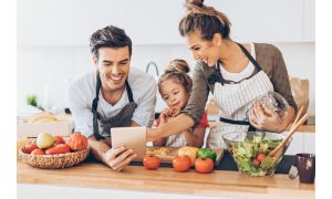 Happy Vegetarian Kids Cooking Healthy